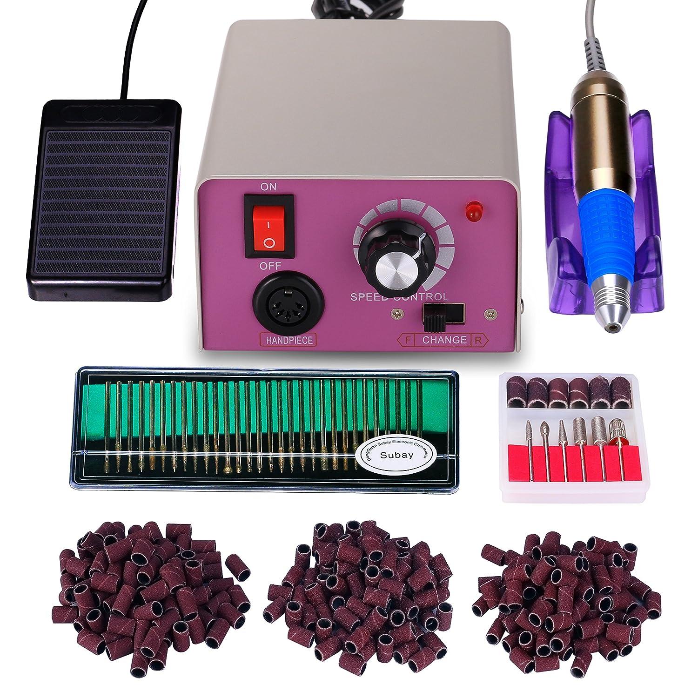 Torno para uñas acrilicas Paquete de máquina de pulido de uñas eléctrica profesional de bajo ruido y baja vibración Manicura Pedicura Limas de uñas + 30 aguja de pulido +300 bandas de lijado