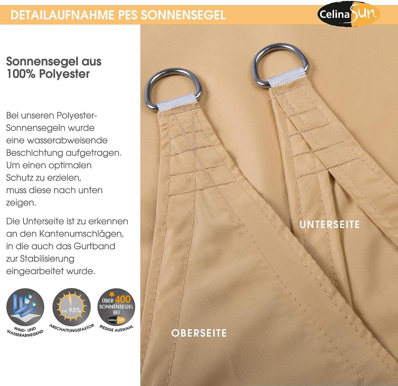 CelinaSun Sonnensegel inkl Befestigungsseile PES Polyester wasserabweisend impr/ägniert Dreieck