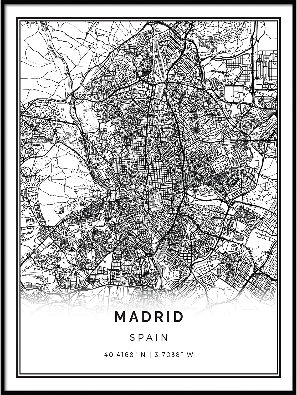 Squareious Madrid map Poster Print | Modern Black and White Wall Art | Scandinavian Home Decor | Spain City Prints Artwork | Fine Art Posters 16x20