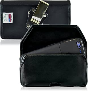 product image for Turtleback Belt Case Made for Google Pixel Black Holster Leather Pouch with Heavy Duty Rotating Ratcheting Belt Clip Horizontal Made in USA