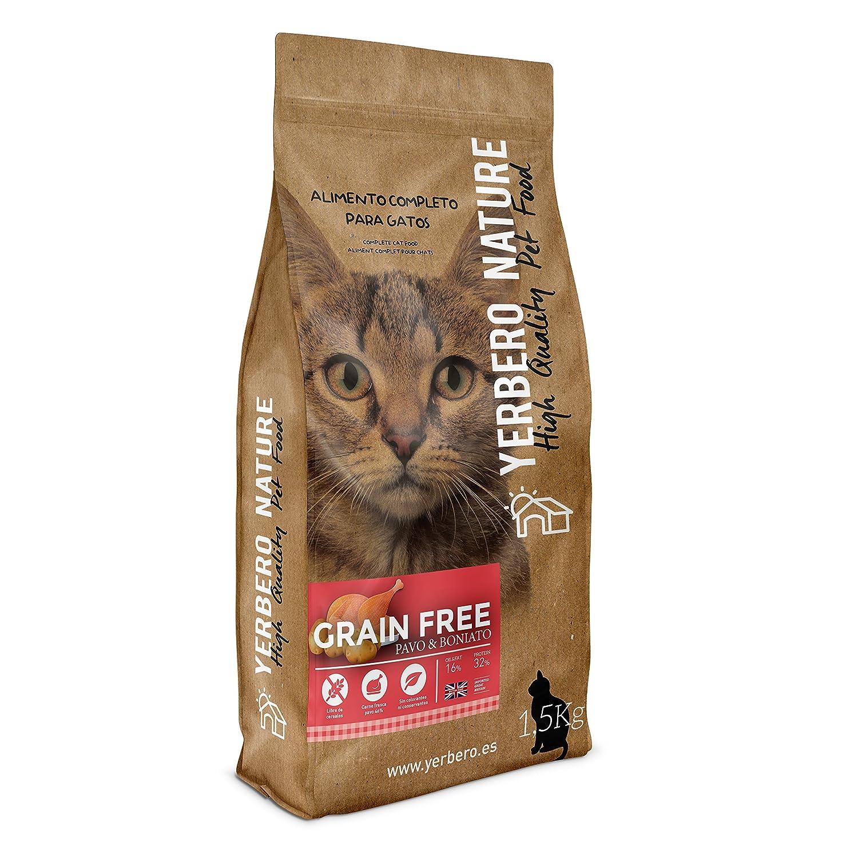 Yerbero Nature de Pavo Grain Free Comida sin Cereales para Gatos - 1,5 kg: Amazon.es: Productos para mascotas