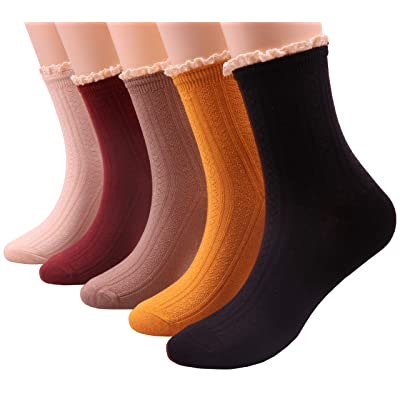 5 Pairs Women Lace Ruffle Frilly Casual Knit Cotton Crew Socks, Size 5-9 S50 (lace trim) at Amazon Women's Clothing store