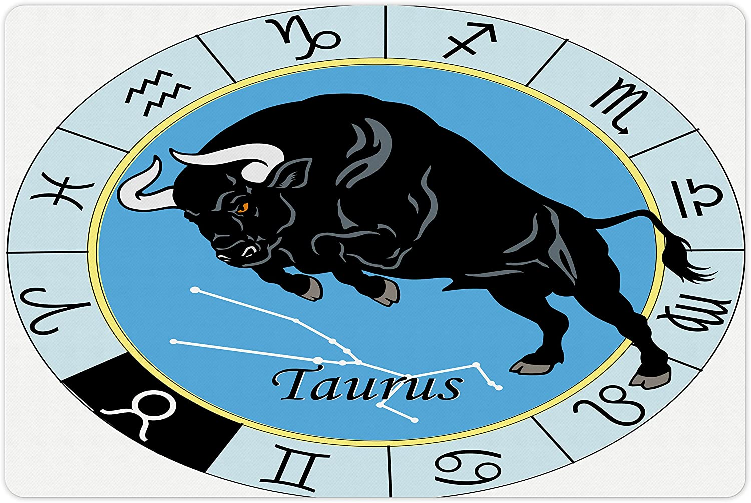 Lunarable Taurus Pet Mat for Food and Water, Zodiac Calendar with Bull Inside Celestial Creature Character Esoteric Print, Rectangle Non-Slip Rubber Mat for Dogs and Cats, Pale Blue Black
