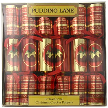 pudding lane christmas crackers christmas pudding script 12 count