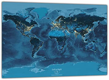 Earth at Night World Map Poster 100x70 cm english Amazoncouk