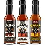 Aubrey D. EXTREME Hot Sauce Sampler Ghost Pepper, Scorpion Pepper and Carolina Reaper 51 Hot Sauces Set of 3 bottles 5 oz each