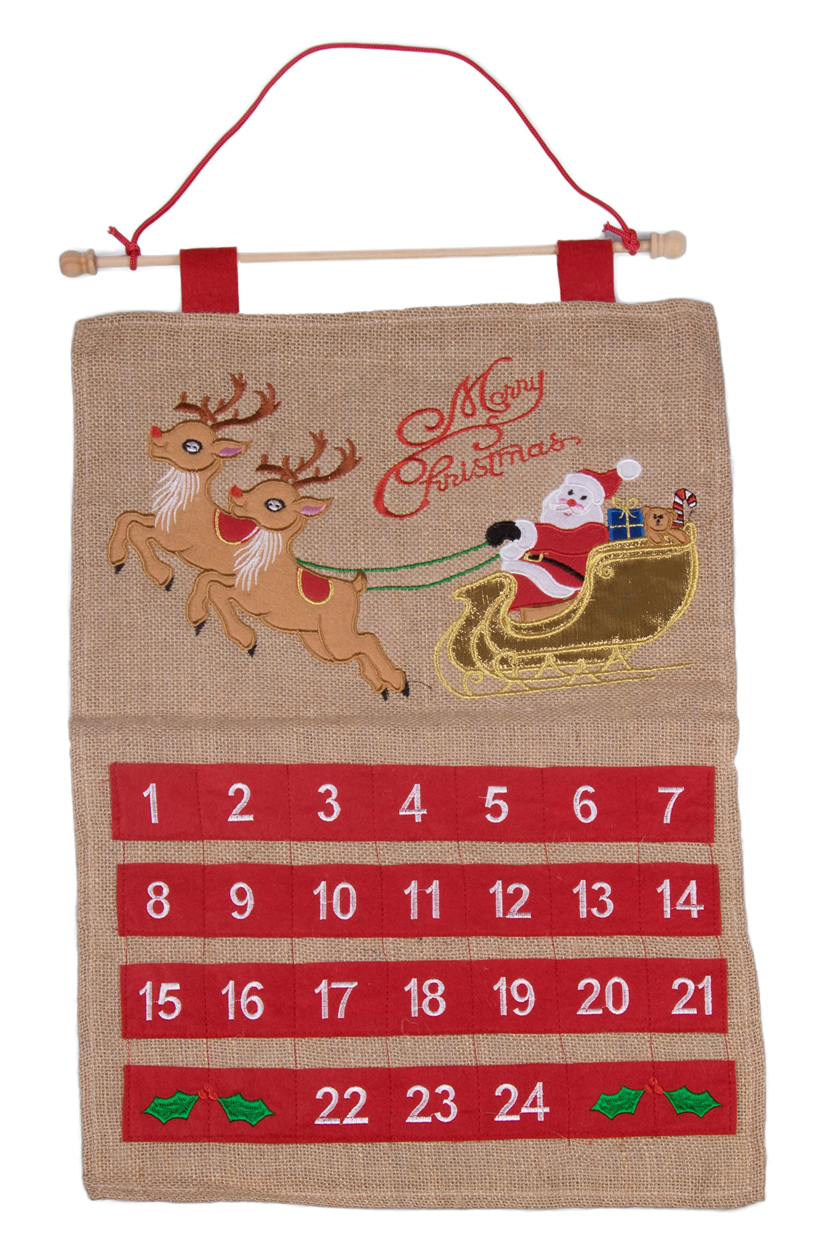 Christmas 24 Day Hanging Burlap Advent Calendar | Colorful Santa's Sleigh and Reindeer Christmas Design | Traditional Holiday Christmas Decor Theme | Perfect for Home or Office | Measures 21.75'' Tall