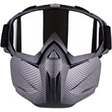 Motorcycle Goggles With Detachable Mask, Spohife Anti-Fog Windproof Motorcycle Goggles Face Mask Shield Motocross Goggles
