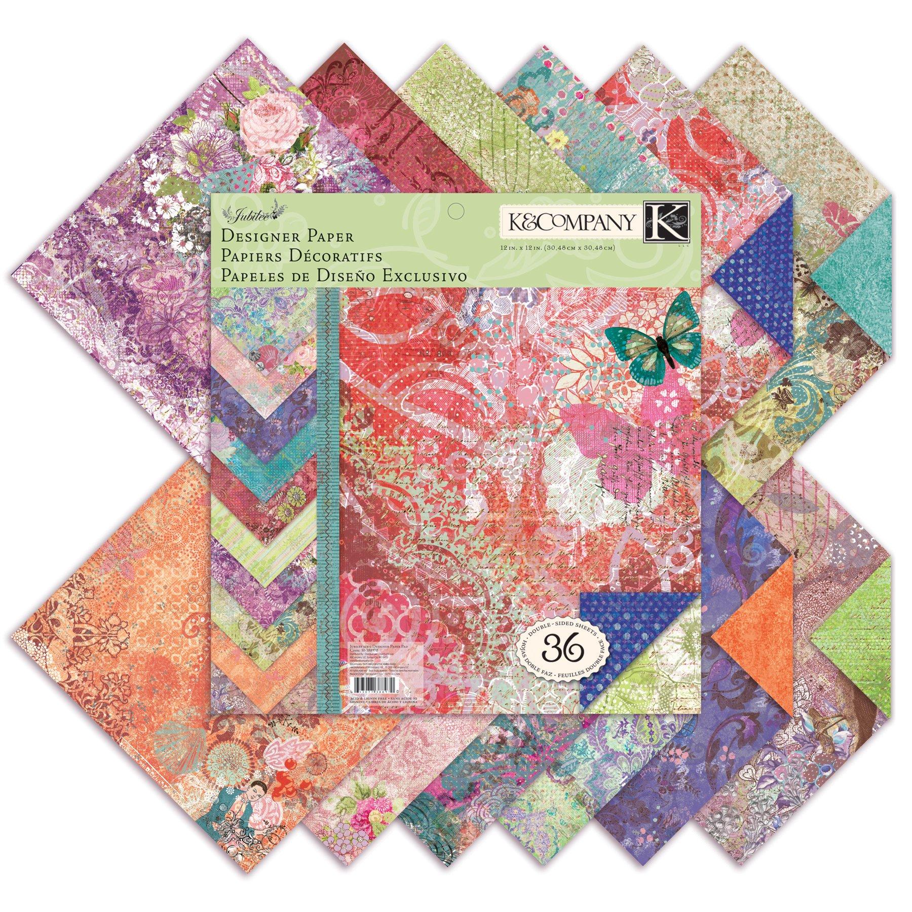 K&Company Jubilee Designer Paper Pad, 12-Inch- by-12-Inch