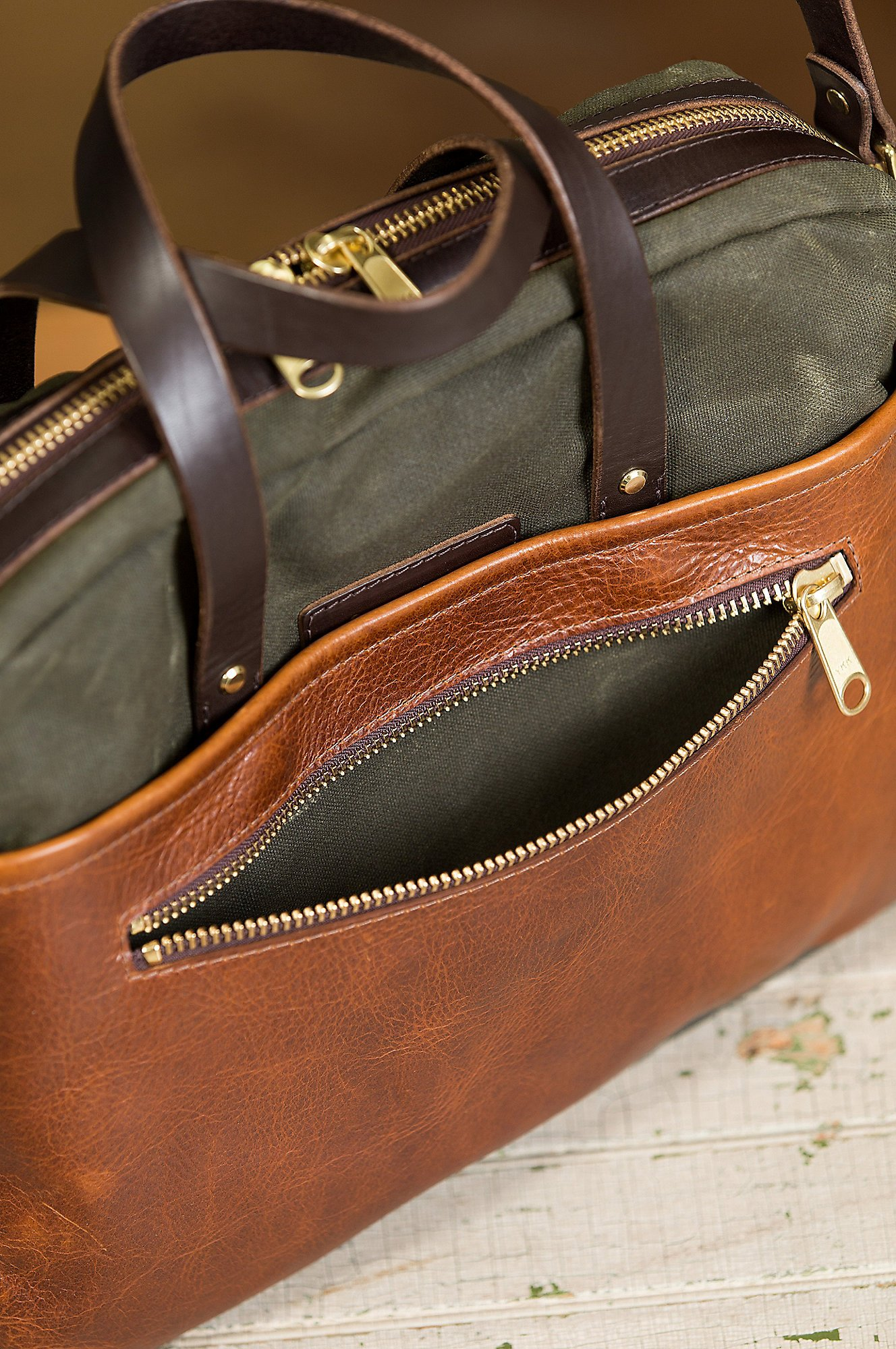 Heritage Canvas and American Bison Leather Briefcase by Overland Sheepskin Co (Image #4)