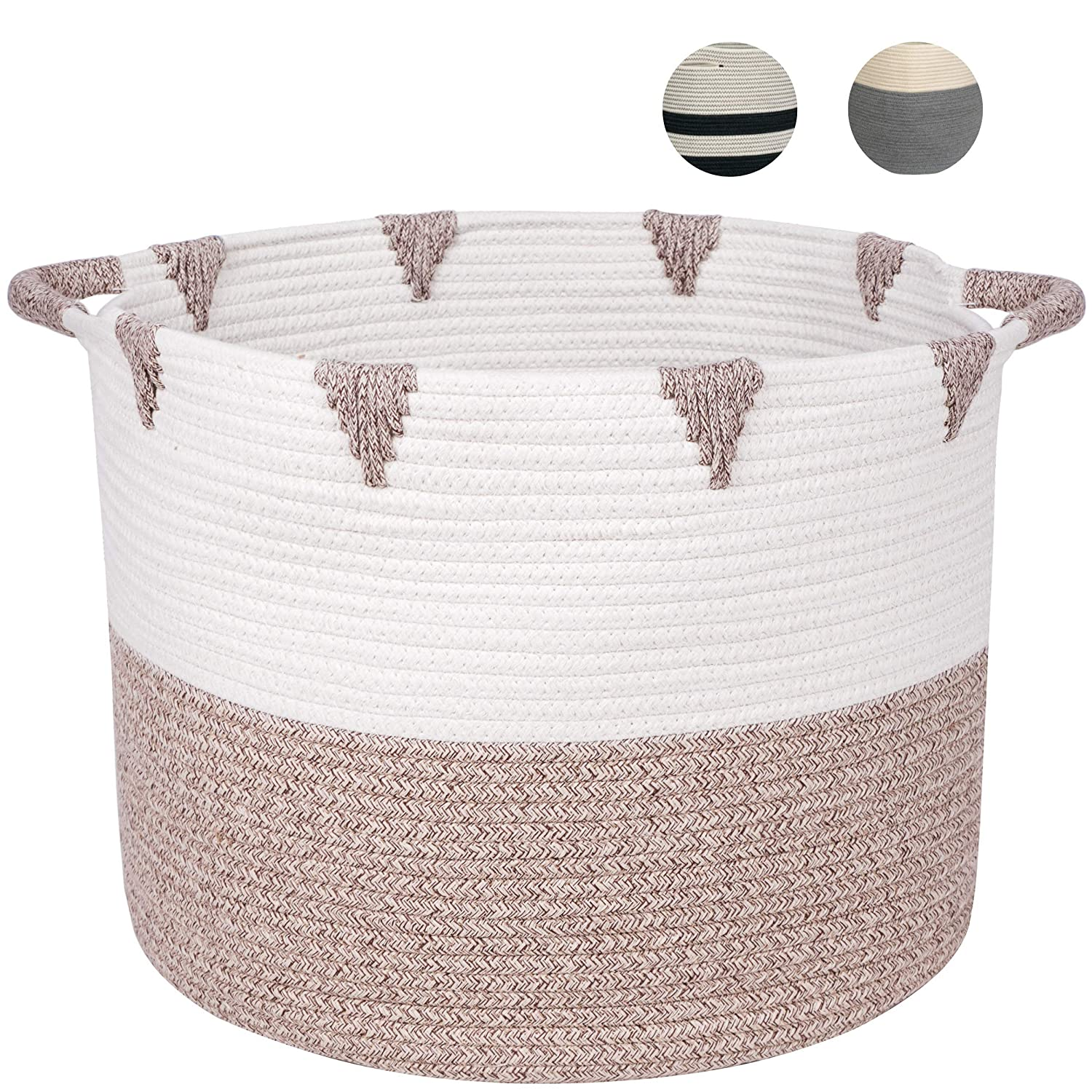 """Beautiful Large Woven Storage Basket - Made from Natural Cotton Rope 