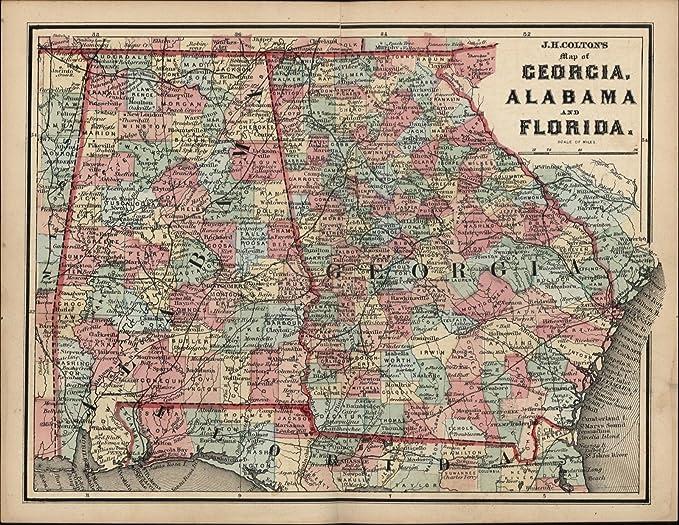Detailed Florida Map.Amazon Com Florida Georgia Alabama Old Antique Detailed C 1860
