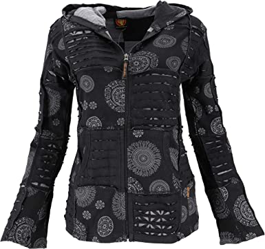Guru-Shop Goa Patchwork Chaqueta, boho con capucha, mujer, algodón ...