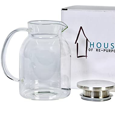 House 50 Ounces Glass Pitcher with Stainless Steel Lid, Pitchers for Hot/Cold Water, Iced Tea Carafe with Handle, Refrigerator Juice Jug, Tea/Coffee Pot, Thick Borosilicate Crystal Jugs