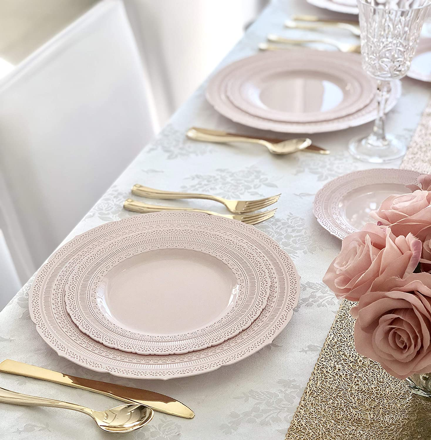 Linen Ivory and Gold 60 x 10.5 Dinner OCCASIONS 120 Pack Heavyweight Premium Disposable Plastic Plates Set 60 x 7.5 Salad//dessert