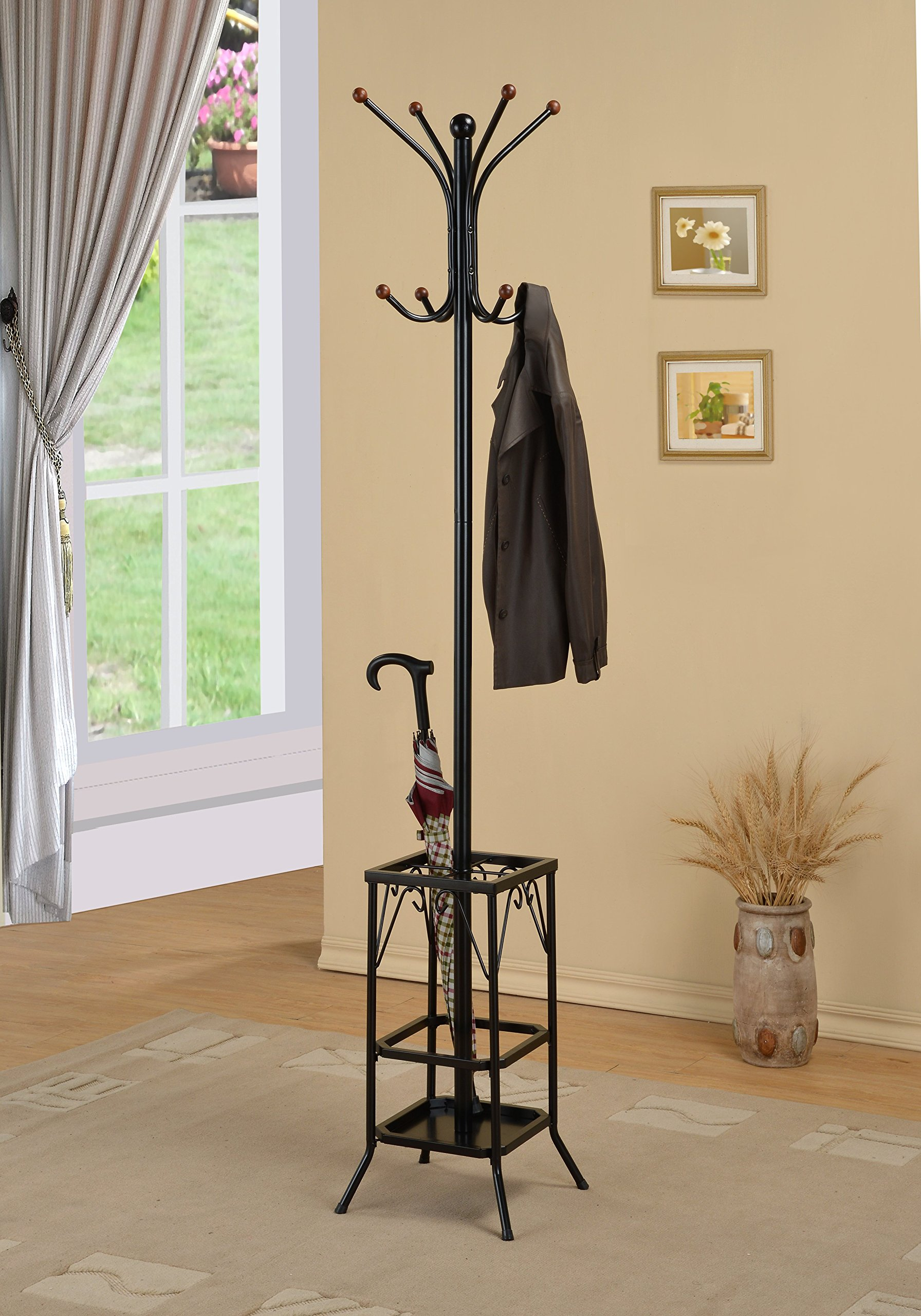 Black Finish Freestanding Standing Metal Coat Hat Purse Rack with Umbrella Holder 8 Hooks