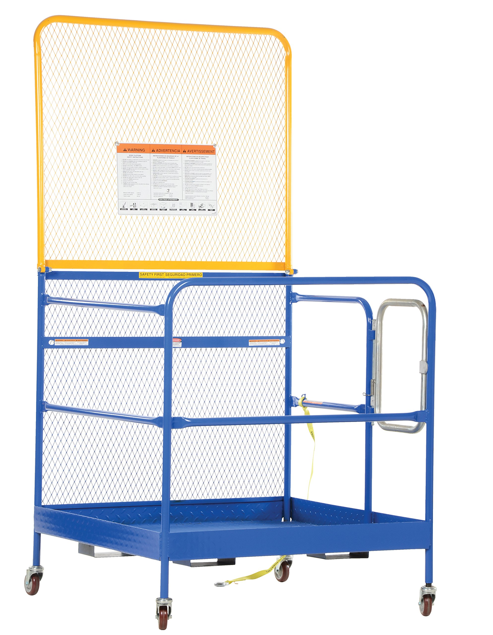 Vestil WP-3636-CA-84B Steel Work Platform, Meets California OSHA, 1000 lb. Capacity, 36'' x 36'' with 84'' Back, Powder Coat Blue