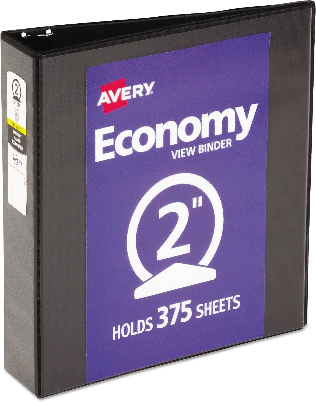 "B0006HV1MI Avery 05730 Economy View Binder w/Round Rings, 11 x 8 1/2, 2"" Cap, Black 91NNqJ7TYiL"