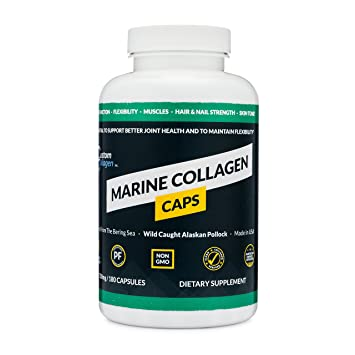 Marine Collagen Peptides Capsules (180 Count) - Wild Caught Alaskan Pollock  - Made in USA -