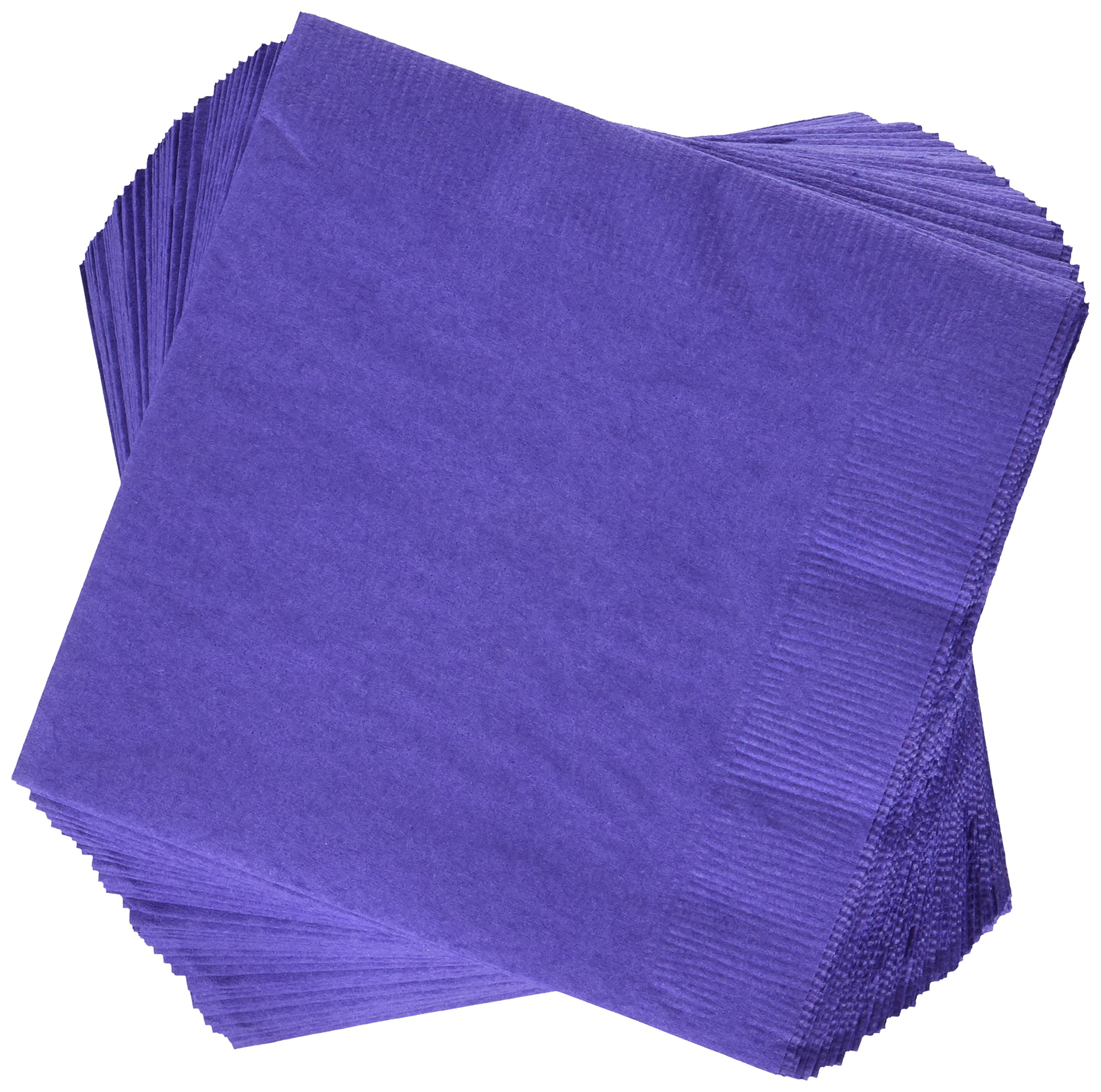 Creative Converting Paper Napkins, 3-Ply Beverage Size, Purple Color, 50-Count Packages (Pack of 5)