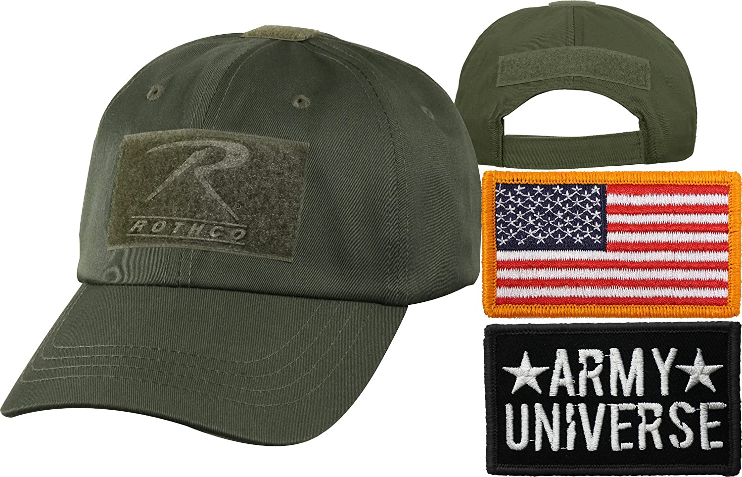 14025b6a9c5 Amazon.com  Olive Drab Tactical Operators Cap + Army Universe Black Patch +  Foliage Green REGULAR USA Flag Patch  Military Apparel Accessories  Clothing
