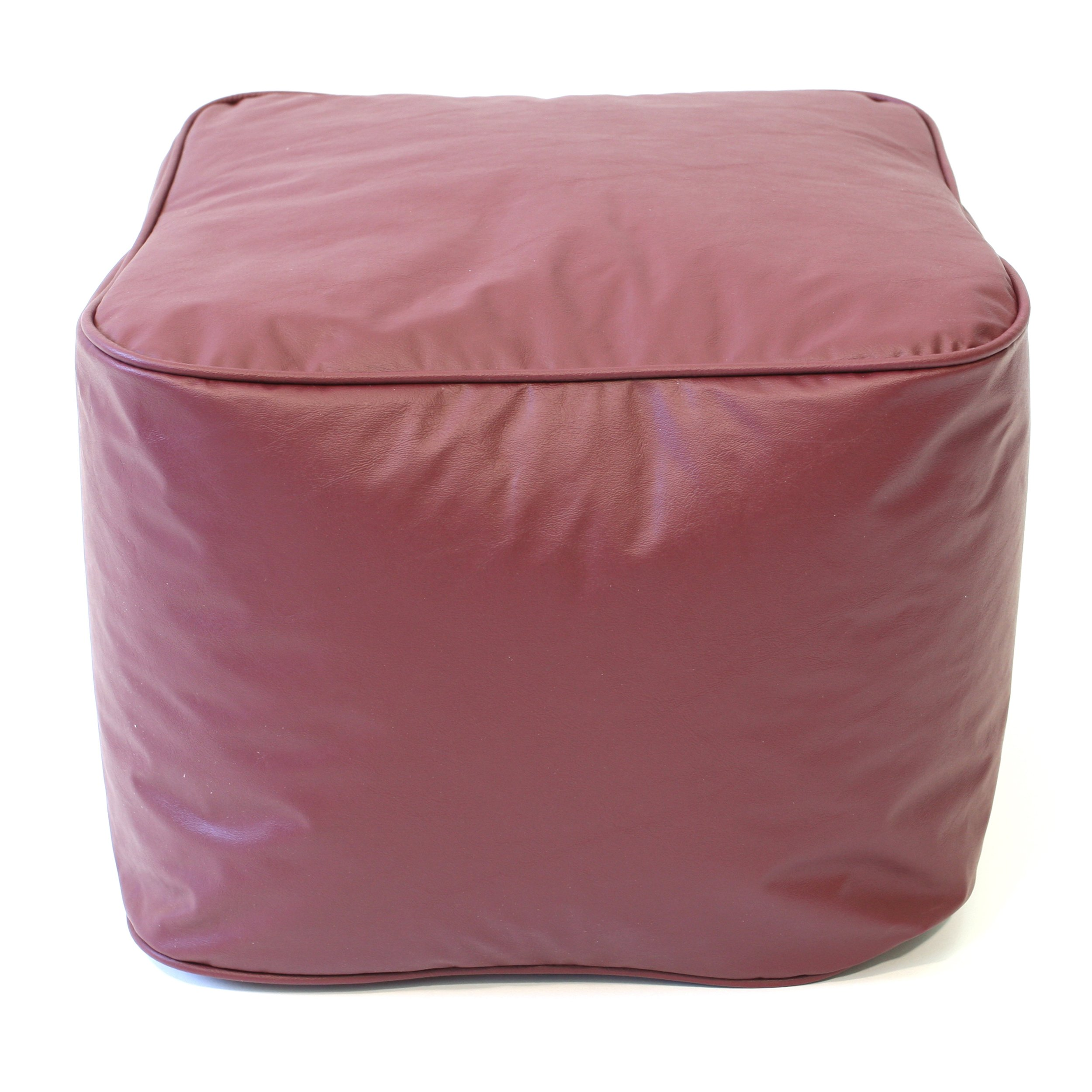 Gold Medal Bean Bags Leather Look Vinyl Ottoman, Small, Wine