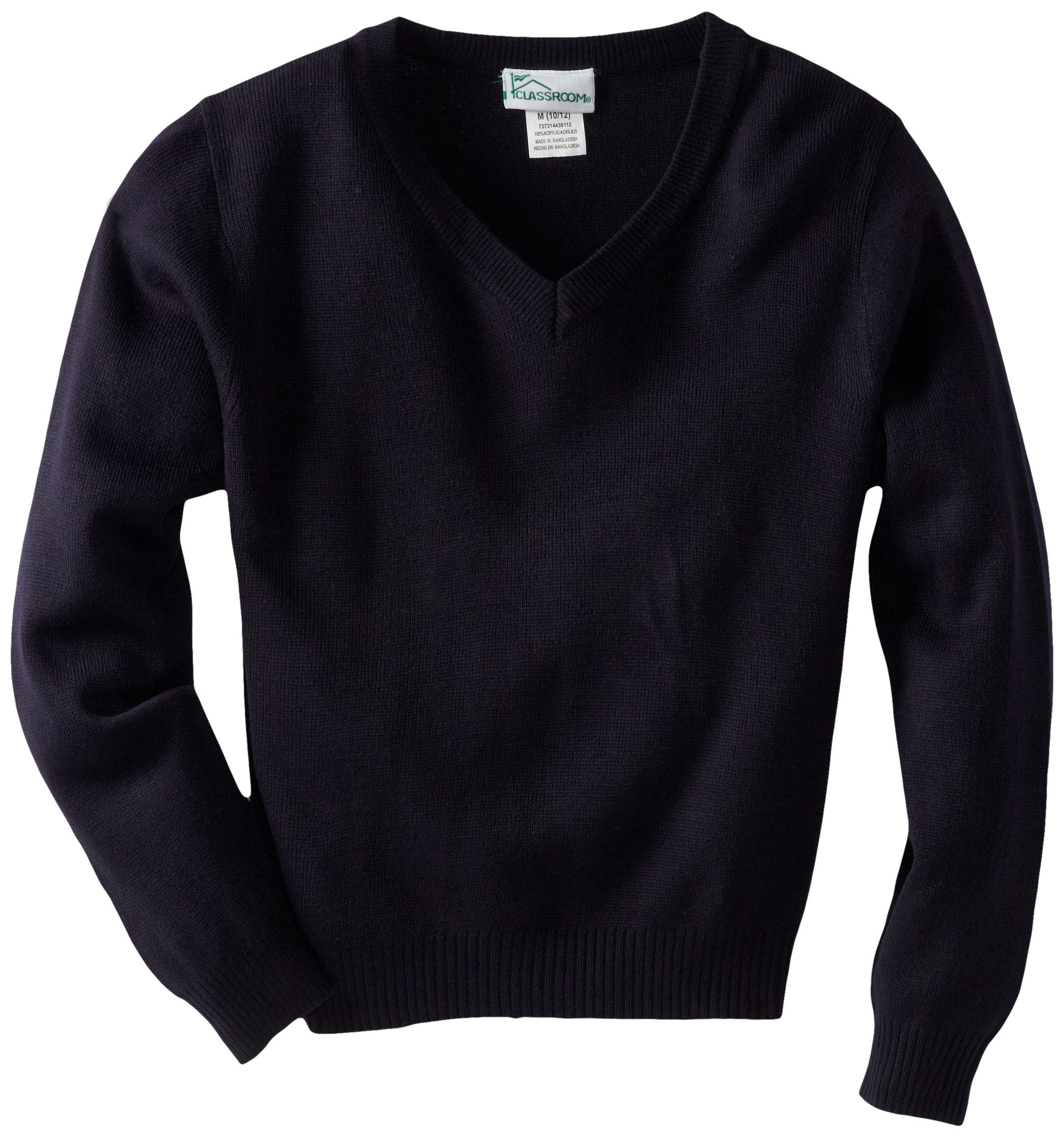 CLASSROOM Big Boys' Uniform Long Sleeve V-Neck Sweater, Dark Navy, X-Large