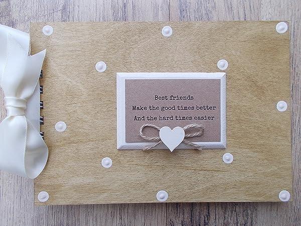 Amazon Personalised Best Friends Wooden Scrapbookphoto Book