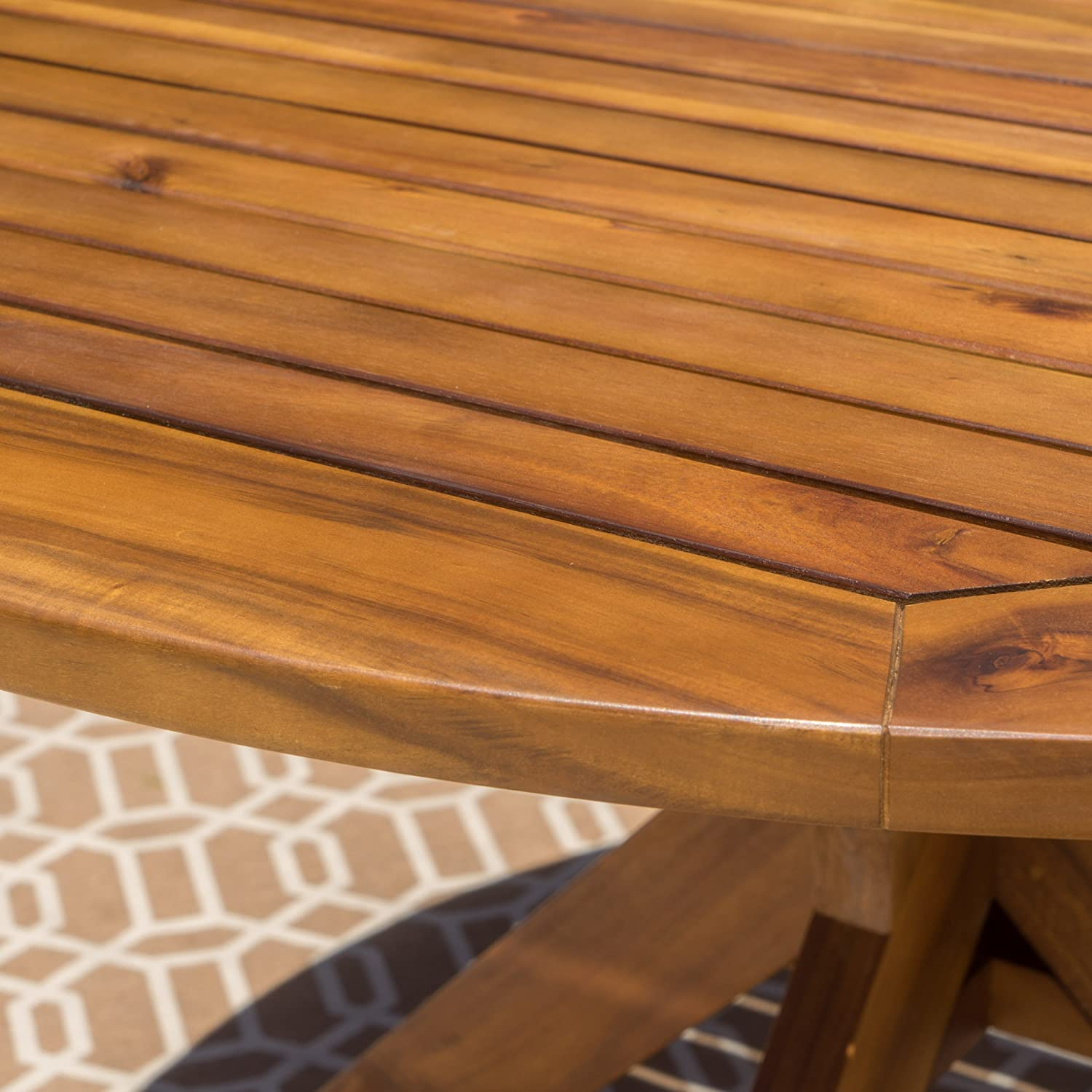 Stanford Outdoor Acacia Wood Dining Table Round with Teak Finish