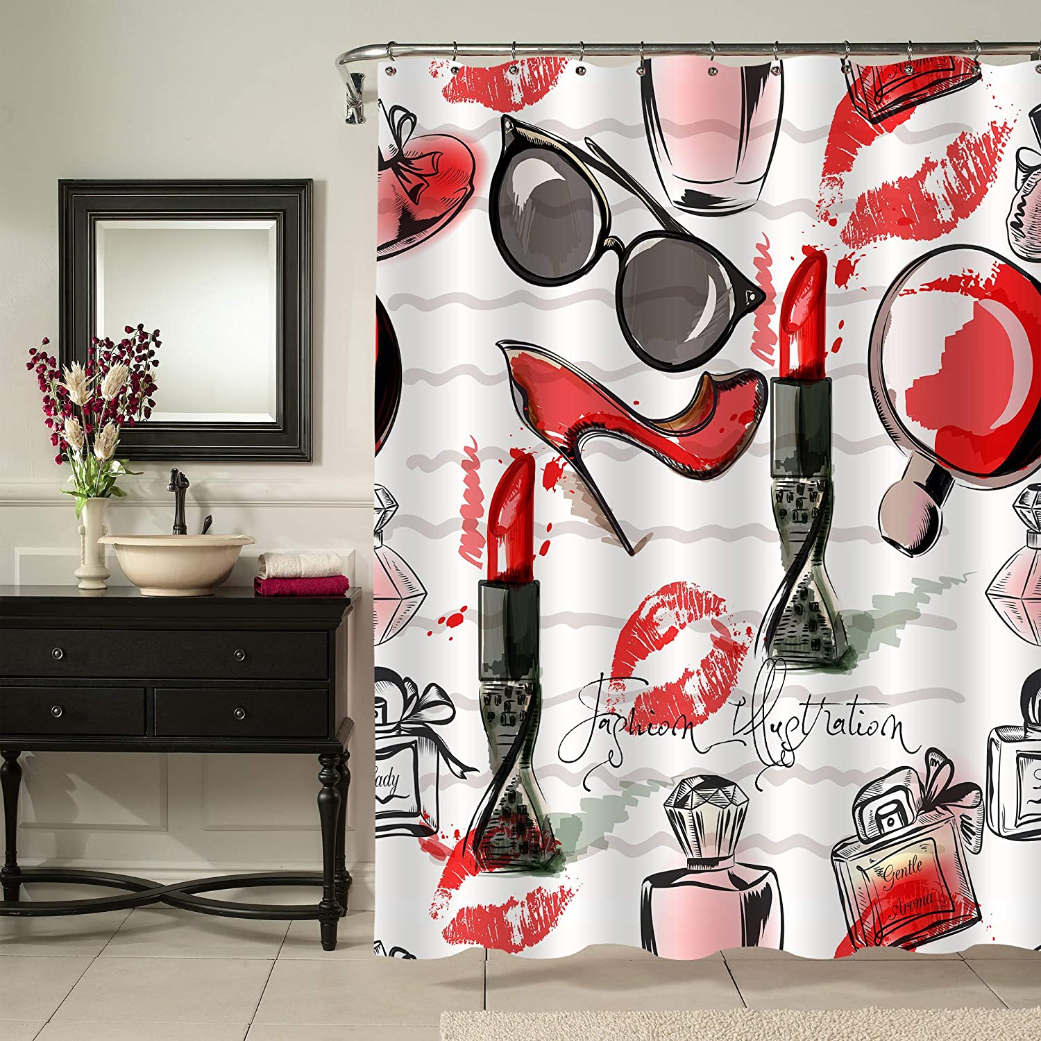 """MitoVilla Fashion Makeup Shower Curtain for Female Bathroom Decor, Cosmetic Lipstick Perfume Art Print Bathroom Accessories, Unusual Gifts for Women and Teen Girls, Red and Black, 72"""" W x 72"""" L"""