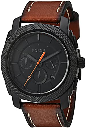 Amazon.com: Fossil Mens FS5234 Machine Chronograph Luggage Leather ...