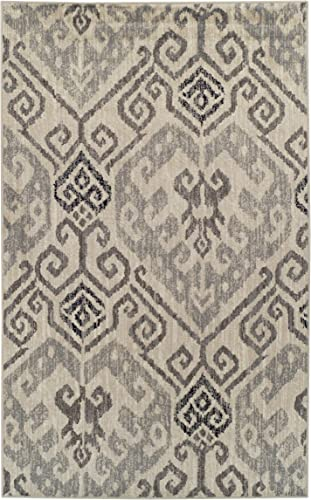 Superior 8mm Pile Height with Jute Backing, Gorgeous Ikat Damask Pattern, Fashionable and Affordable Woven Rugs, 5 x 8 Rug, Light Blue