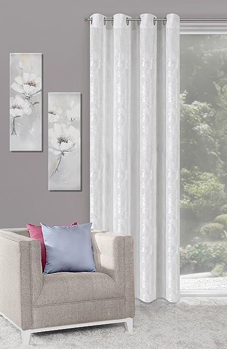 Amazon.de: Ösenvorhang 140x245 cm Lucja weiß silber Wohnzimmer Muster