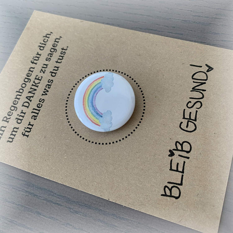 Regenbogen mit Button Dankesch/ön Gru/ßkarte Gru/ß f/ür liebe Menschen Pflegekraft Verk/äuferin Postboten Lehrerin Lehrer usw Spendenaktion