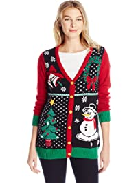 Ugly Christmas Sweater Women s Button-Front Christmas Cardigan Sweater 12f0fa110