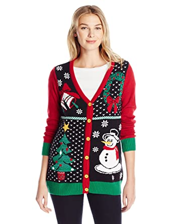 91c99a99bee Ugly Christmas Sweater Company Women s Button-Front Christmas Cardigan  Sweater