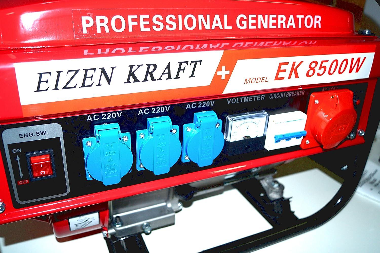 KRaftech - Stromgenerator mit 6.000W, Luftkühlung, 6 ...