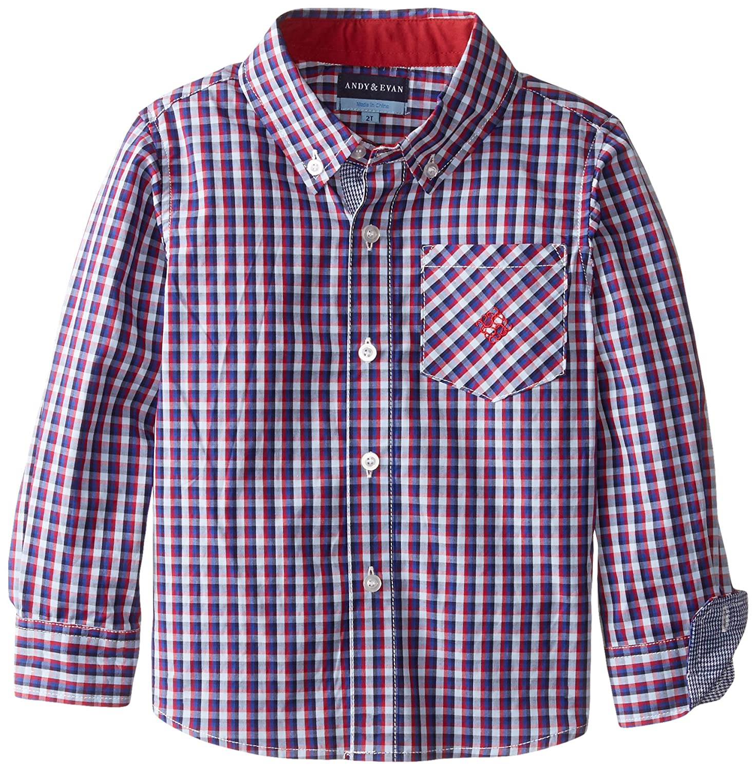 Andy & Evan Little Boys' Red-and-Blue Checkered Shirt 26381B-RDA