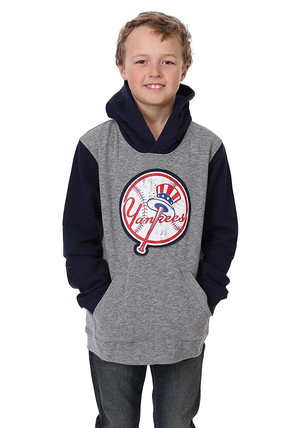 new arrival 50e95 2a8e8 Outerstuff Yankees Beginnings Pullover Hooded Youth Sweatshirt Gray
