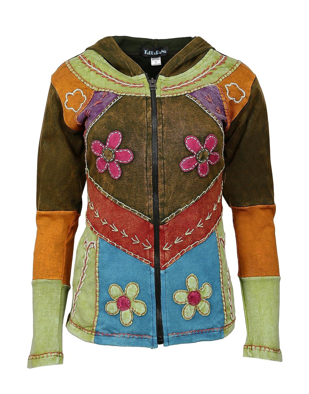 TATTOPANI Ladies Jacket Algodon Multicolor con Capucha y Bolsillo ...