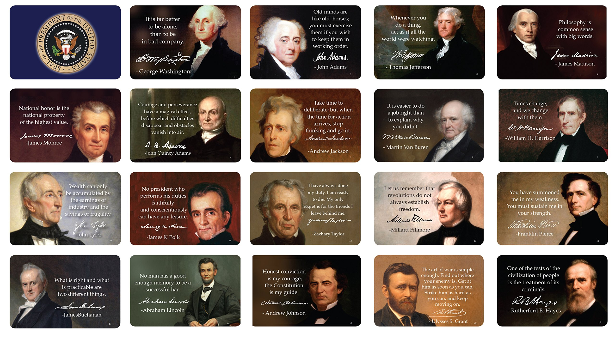 US Presidents Quote Cards; Inspirational Quotes and Full-Color Images, With Presidential Signatures, Thick Stock Paper, The #1 school Educating New Trend
