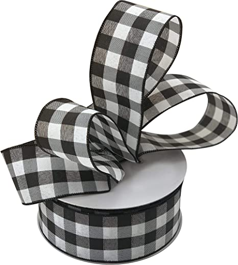 "Black and White Stripe WIRE EDGED RIBBON 1-1//2/"" x 5 Yards"
