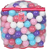 """Click N' Play Value Pack of 200 Crush Proof Plastic Play Balls, Phthalate Free BPA Free, 5 Pretty Feminine Colors in Reusable Mesh Storage Bag with Zipper-""""LITTLE PRINCESS EDITION"""""""