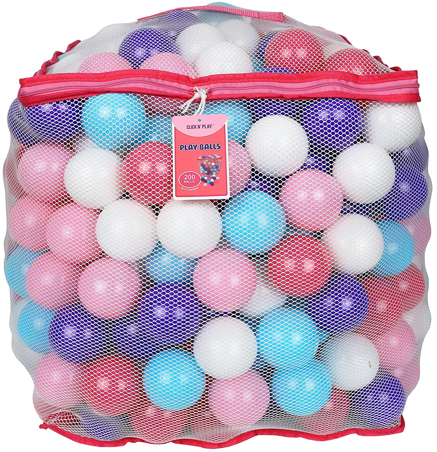 "Click N' Play Value Pack of 200 Crush Proof Plastic Play Balls, Phthalate Free BPA Free, 5 Pretty Feminine Colors in Reusable Mesh Storage Bag with Zipper-""LITTLE PRINCESS EDITION"""