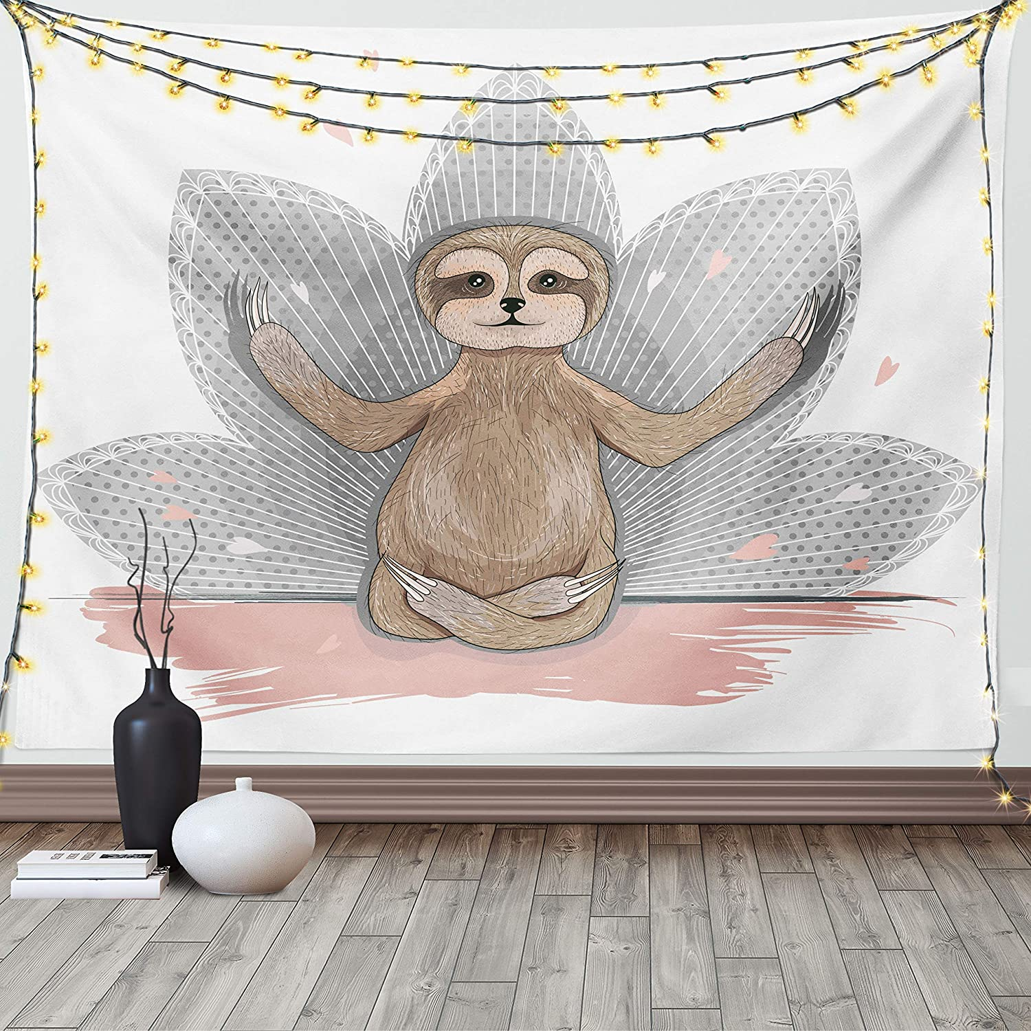 Ambesonne Sloth Tapestry, Little Sloth Meditation Lotus Flower Yoga Asana Positions Motivational Fun, Wide Wall Hanging for Bedroom Living Room Dorm, 60