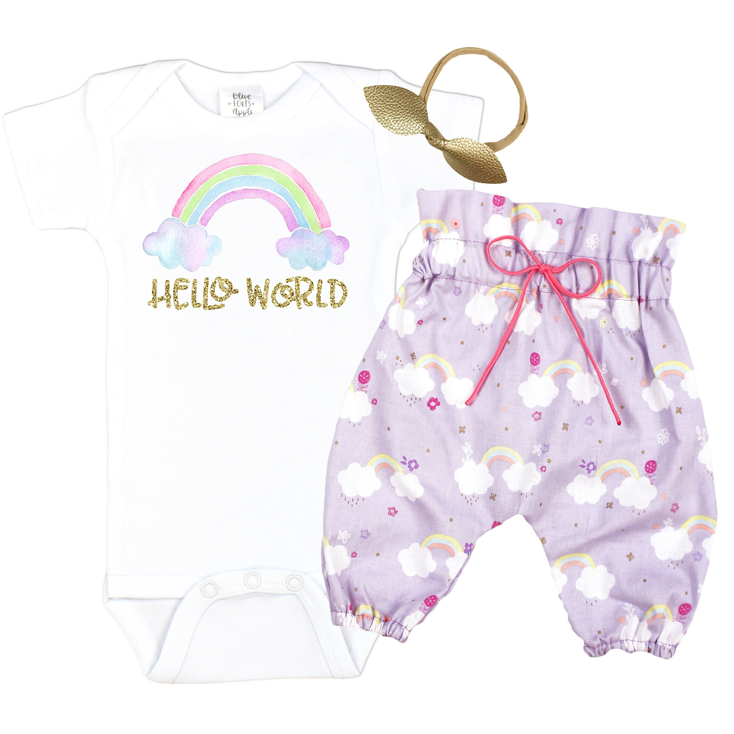 Hello World Baby Take Home Outfit Rainbow High Waisted Pants Coming Home Outift Baby Girl