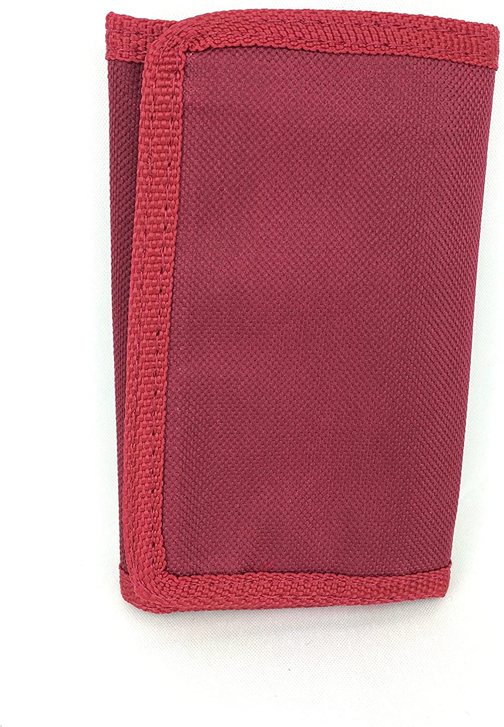 MENS LADIES BOYS GIRLS TRIFOLD CANVAS NOTES COINS SPORTS RIPPER WALLET PURSE BURGUNDY