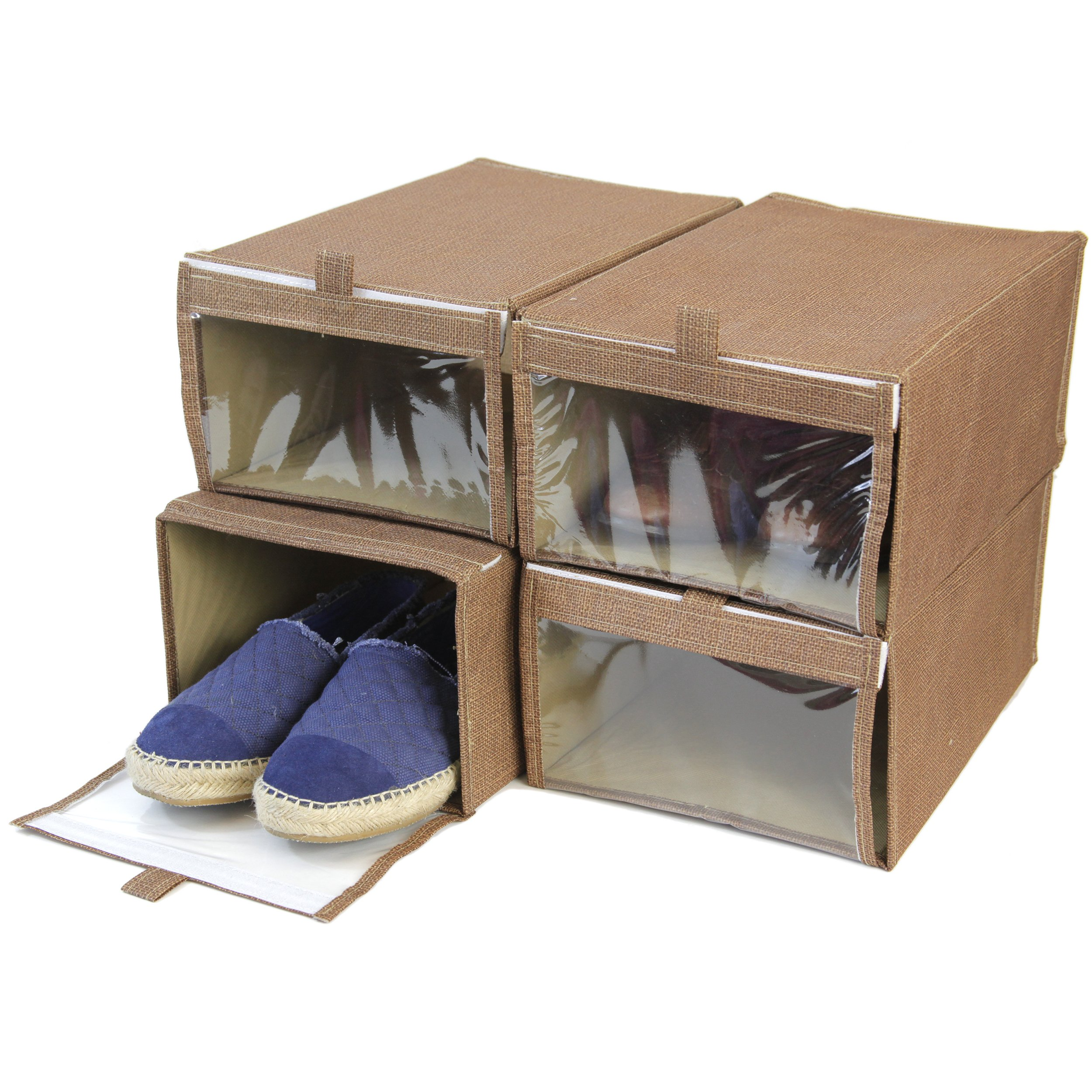 Set of 4 - Shoe Box XL Closet Organization with See Through Window (Brown Linen)