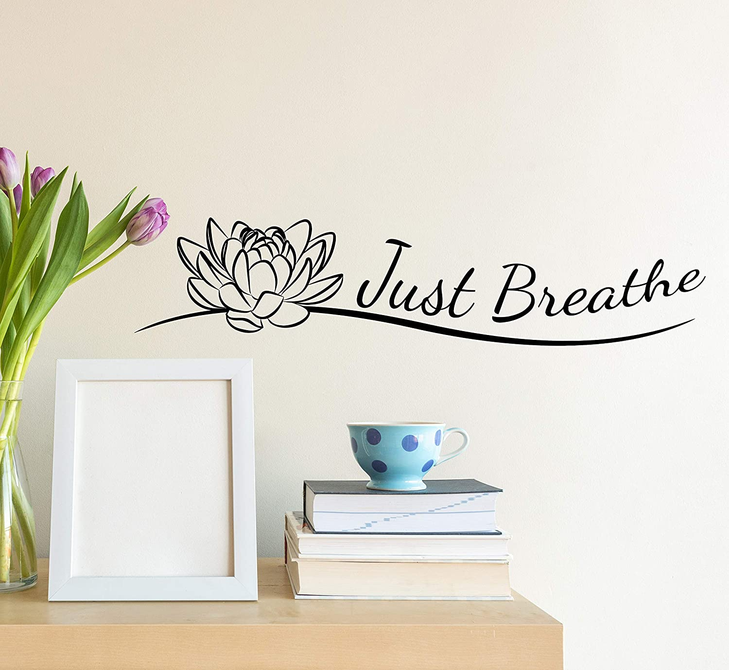 Vinyl Wall Decal Indian Yoga Studio Meditate Decor Buddhism Just Breathe Lotus Flower Stickers Mural 35 in x 8 in gz260