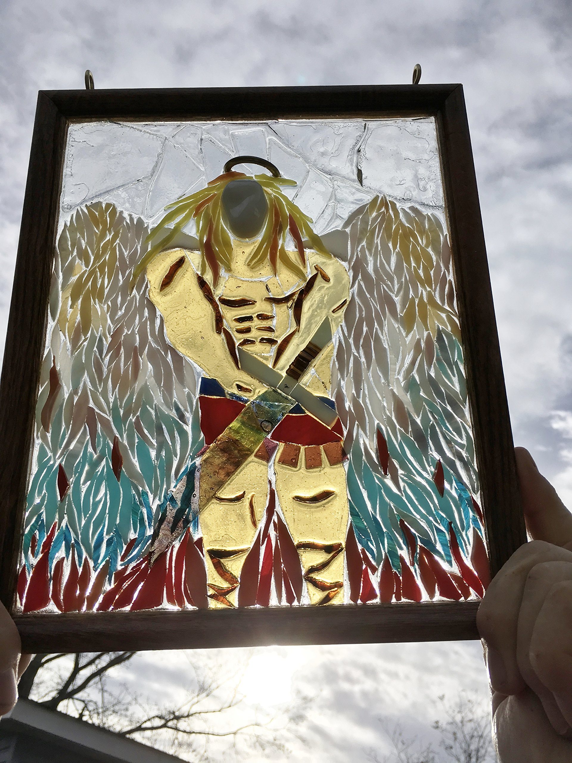 Arch Angel Stained Glass Window Art Sun Catcher, Christian Art by Mountain Mosaics (Image #2)